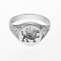 Heavy Welsh Dragon Signet Ring SAH3A-S